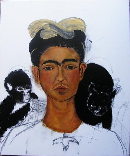 Frida Kahlo Self-Portrait 1940 Study WIP #5