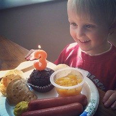 Cake 'n' hotdogs! He loves the birthday singing, too. ❤
