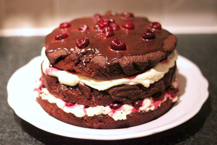 Frozen chocolate gateau