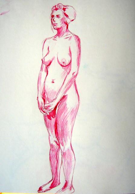 Standing pose in dark rose pencil