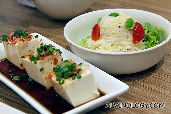 Hiyayakko (Chilled Tofu witth chilli soy sauce) and Marukin potato salad