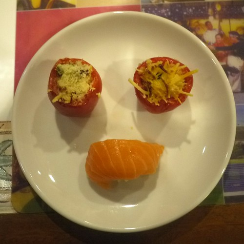 Stuffed Tomatoes and Salmon sushi