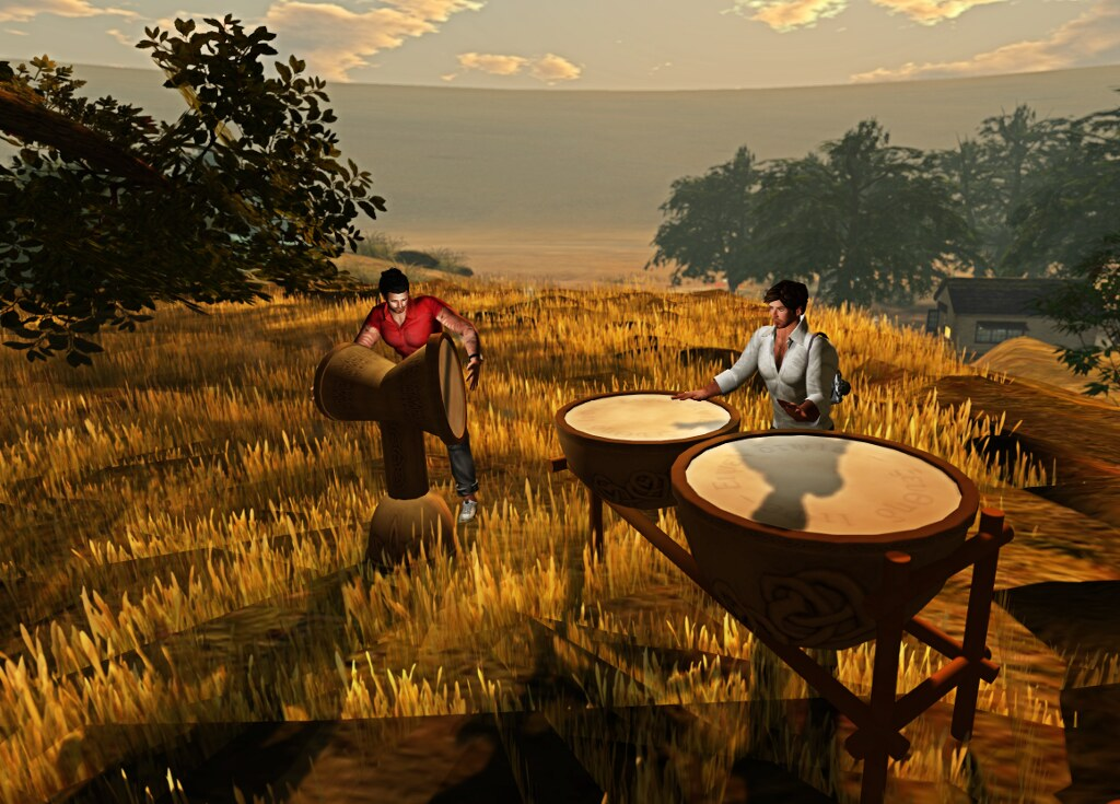 Ricco and Tom playing the drums (by Ricco Saenz)
