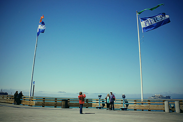 Enjoying windy Pier 39