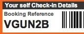 Booking reference screenshot