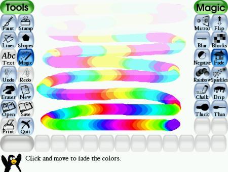 aprender a dibujar un arcoiris con tux paint