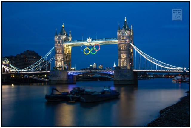 Olympic Rings Tower Bridge from City Hall