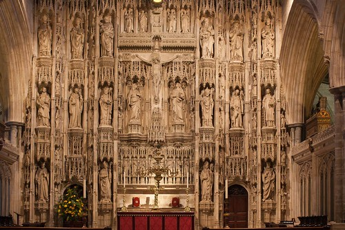 The altar is a central place, look for the ways the art and architecture bring out its importance