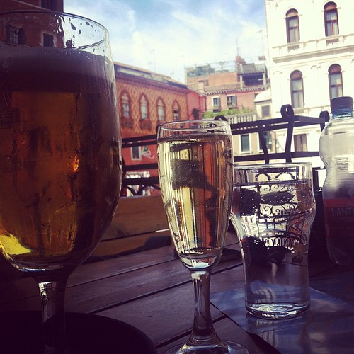 Beer, prosecco, mineral water