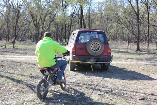 Pull Starting the Motor Bike