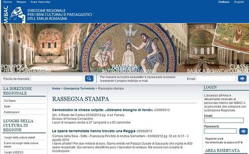 ITALIA - EMERGENZA & TERREMOTO SISMA EMILIA-ROMAGNA (2012): RASSEGNA STAMPA - Direzione Regionale per i Beni Culturali e Paesaggistici dell'Emilia-Romagna [aggiornato dei  03/08/2012 / pag. 1-23]. by Martin G. Conde