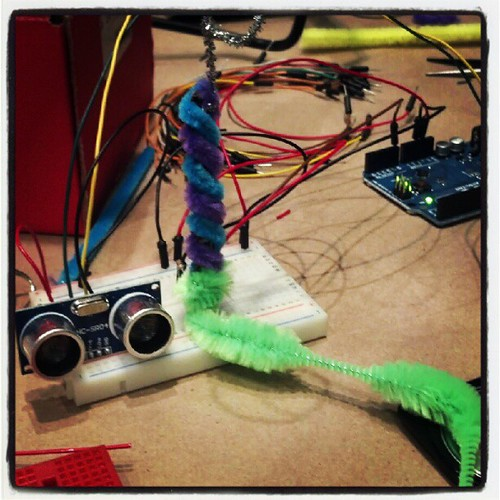 Arduino based theramin with range finder by @not_rollergirl