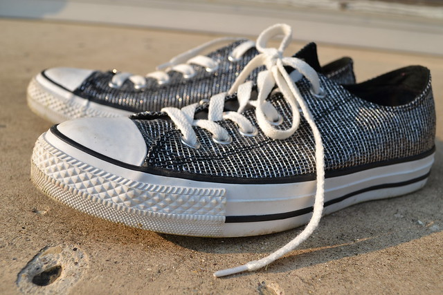 Sparkly Silver Converse Shoes