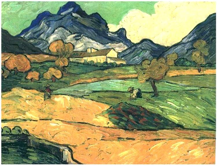 Vincent van Gogh (1853-1890). Le Mont Gaussier with the Mas de Saint-Paul 1889