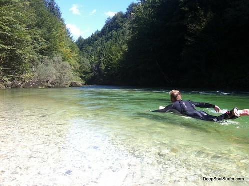 Downstream river surfing