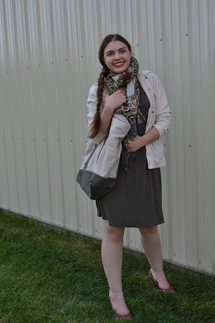 Fall 2012 Look: Olive Green Dress, Khaki Jacket, and Patterned Scarf