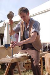 Wooden rake tine cutting