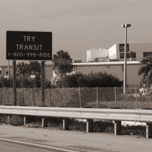 """Try transit"" sign on I-95"