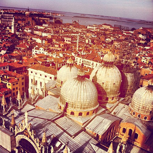 Looking down onto San Marco Basilica from the clock tower