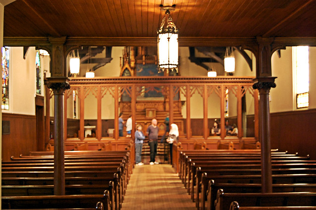 View from Baptismal to altar highlighting the rood screen that divided the sisters from the students