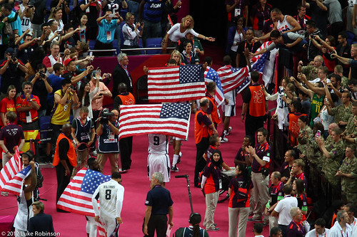 USA team walk off victorious, USA Spain Olympic Basketball Final, August 12th 2012