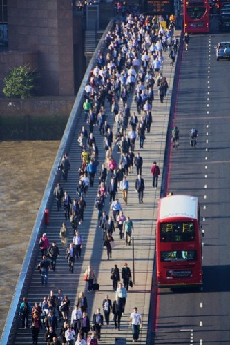 Rush hour pedestrians on London Bridge
