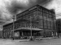 Meadow Gold Dairy warehouse black and white HDR