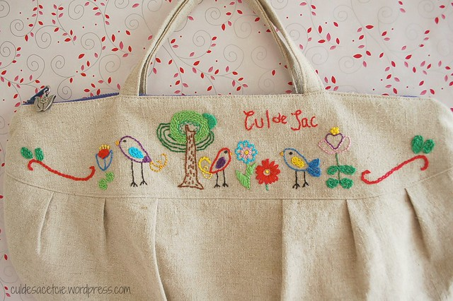 hand embroidered small zippered bag