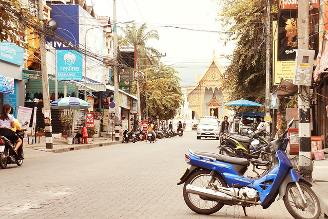 Typical street scene in Chiang Mai: the chaos somehow works, and there is always a peaceful temple hidden amongst it