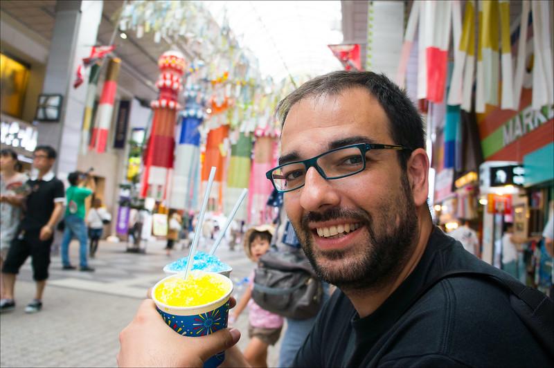 Luis tomando kakigori en Sendai