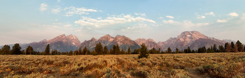 The Grand Teton Range in early morning light, at Mountain View Turnout