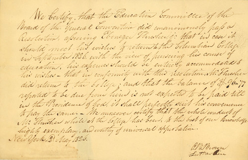 Ebenezer Thresher's certificate of conduct at Columbian College, 1826