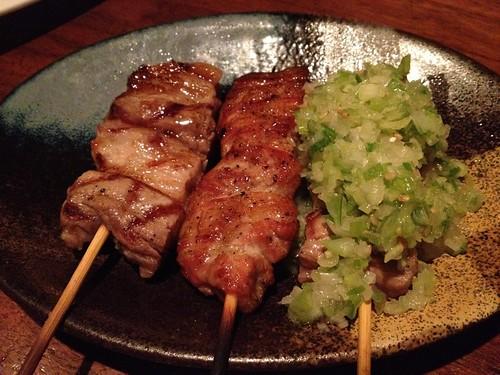 バラ焼き3種盛り(塩・ねぎ塩・スモーク)@やきとんに焼酎 路地