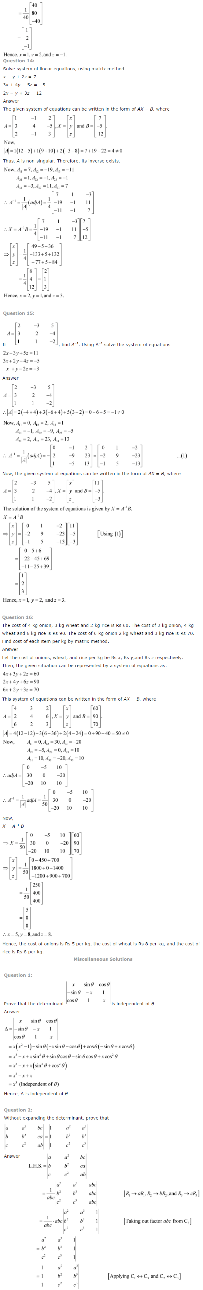 NCERT Solutions for Class 12 Maths Chapter 4 Determinants ex 4.14