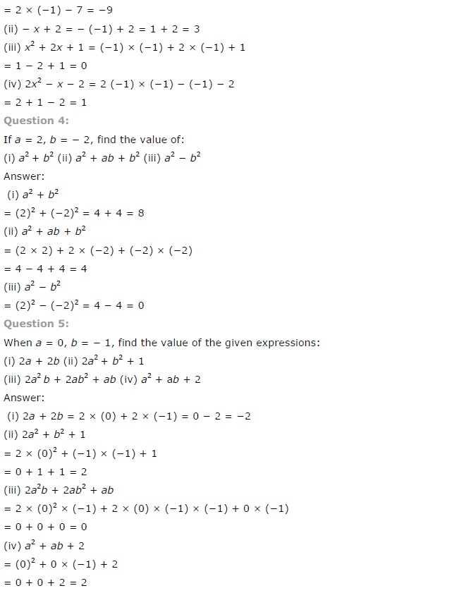 NCERT Solutions for Class 7 Maths Chapter 12 Algebraic Expressions Exercise 12.3