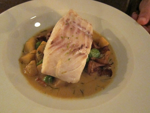 Cod with a Fricasee of Chanterellese and Parsnips and Dill