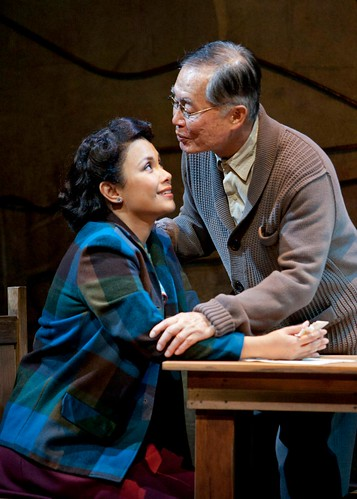 "Lea Salonga and George Takei in ""Allegiance."""
