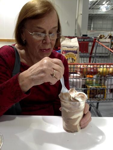 mom and frozen yogurt at Costco
