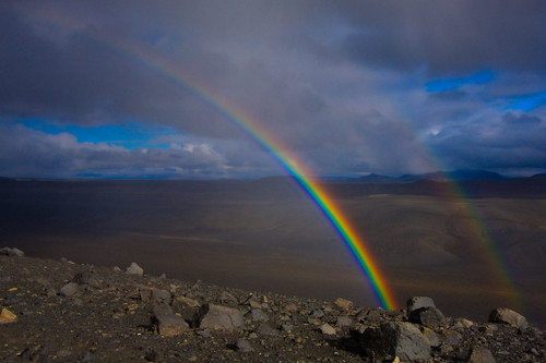 Intensive Rainbow at Crater Hverfjall