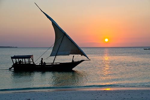 dhau at sunset
