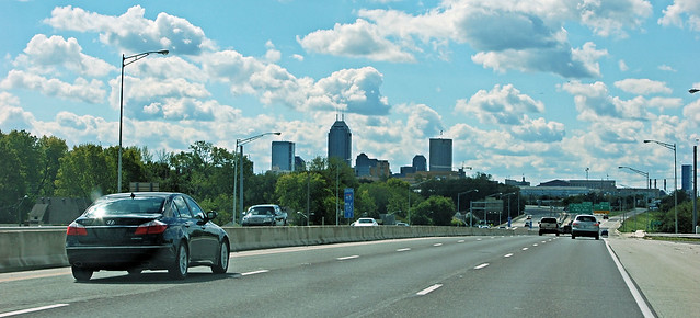 View of the Indianapolis skyline from the interstate