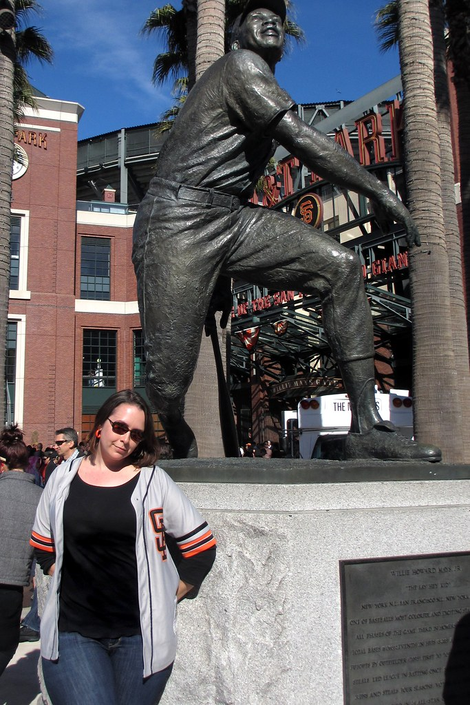 Posing with Willie Mays at AT&T Park. Photo by Pat Zimmerman.