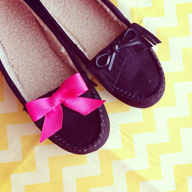 Made over a pair of $12 Walmart mocs this am. Pink ribbon for the win! Now for the next one. :) I'm excited to wear these on my late night #sewingsummit adventures. Or you know, all day.