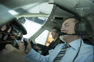 Willie Walsh at the controls of the flight simulator