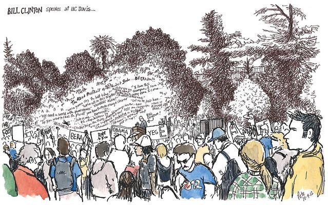 bill clinton rally, uc davis quad
