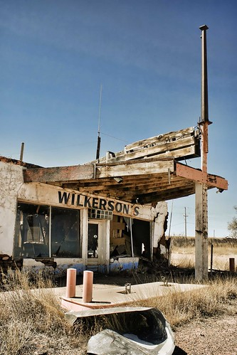 Wilkerson's, abandoned filling station on Route 66 in New Mexico. Photo copyright Jennifer Baker and Liberty Images.