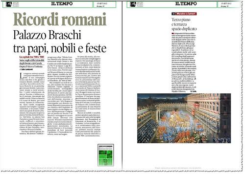 ROMA ARCHEOLOGIA - La capitale tra '500 e '800: RECORDI ROMANI - Palzzo Braschi tra papi, nobile, e feste, IL TEMPO (15/09/2012), p. 41. by Martin G. Conde