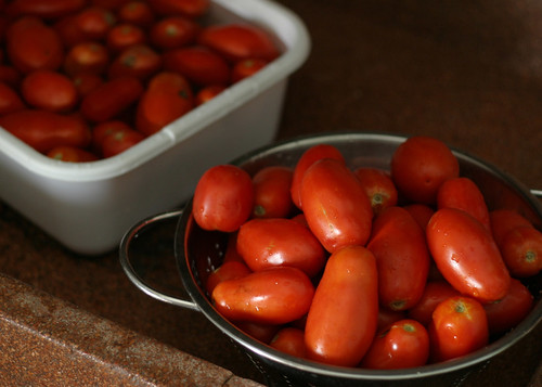 Prepping for Tomato Basil Sauce