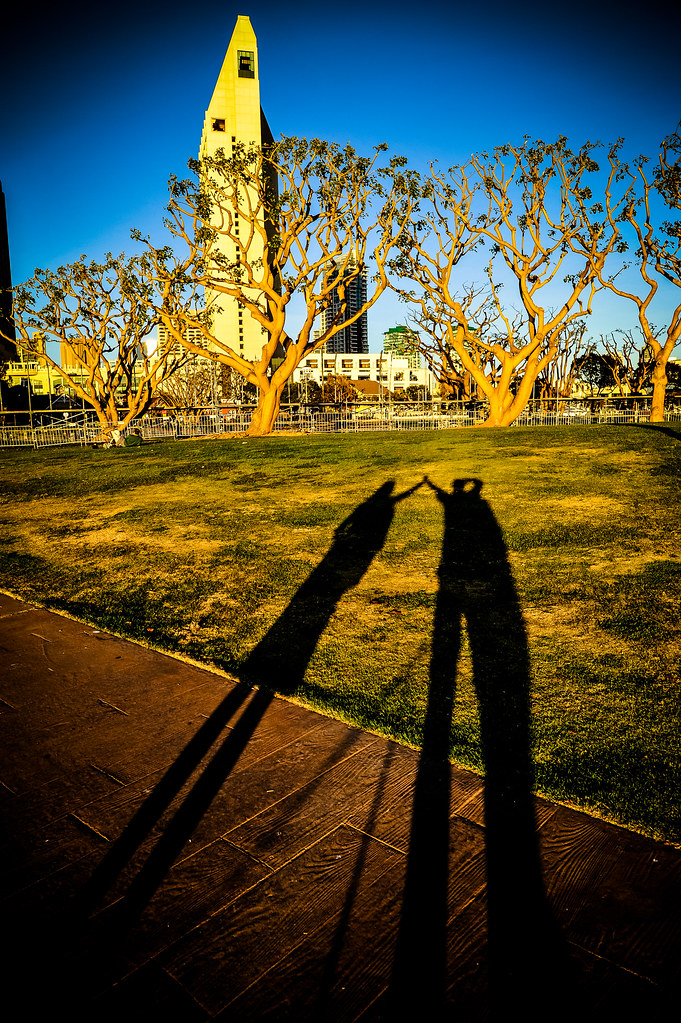 Lily and I shadows Christmas 2011 Seaport Village San Diego