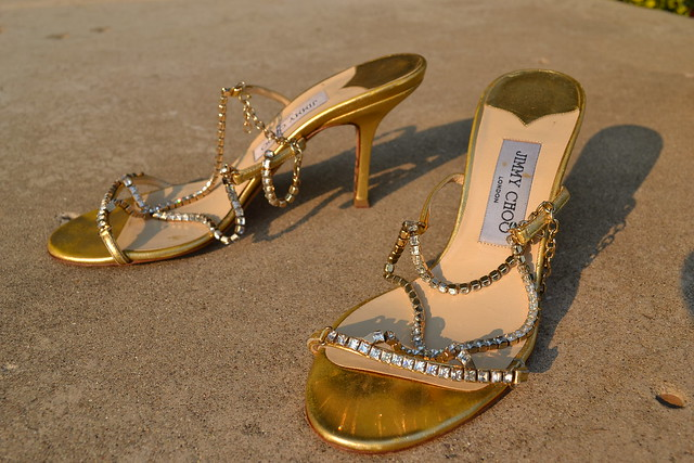 Jimmy Choo Gold Sandals with Sparkly Crystal Straps